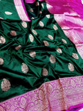 Banarasi Handloom Pure Katan Silk Saree in Green - Saree - FashionVibes