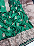 Banarasi Handloom Pure Katan Silk Saree in MediumSeaGreen - Saree - FashionVibes