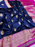 Banarasi Handloom Pure Katan Silk Saree in Navy - Saree - FashionVibes