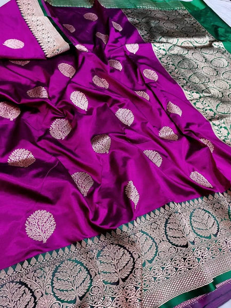 Banarasi Handloom Pure Katan Silk Saree in Purple - Saree - FashionVibes