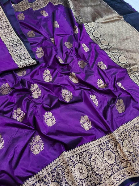 Banarasi Handloom Pure Katan Silk Saree in - Saree - FashionVibes