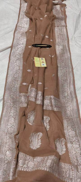 Banarasi Khaddi Chiffon Georgette Silk Saree in Chocolate - Saree - FashionVibes