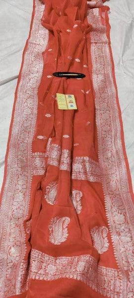 Banarasi Khaddi Chiffon Georgette Silk Saree in Crimson - Saree - FashionVibes