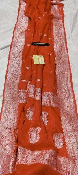 Banarasi Khaddi Chiffon Georgette Silk Saree in IndianRed - Saree - FashionVibes