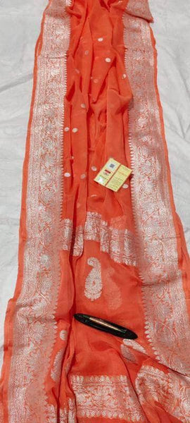 Banarasi Khaddi Chiffon Georgette Silk Saree in OrangeRed - Saree - FashionVibes
