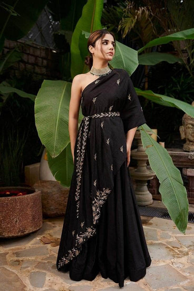 Beautiful Black Indo-western Georgette Gown in - Gowns - FashionVibes