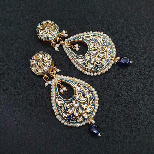 Beautiful Blue and White Kundan Earrings in - Jewelry - FashionVibes
