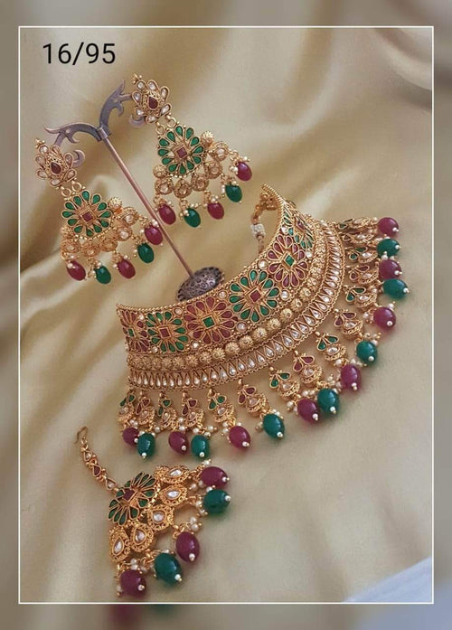 Beautiful Bridal Choker Set in Red and Green - Jewelry - FashionVibes