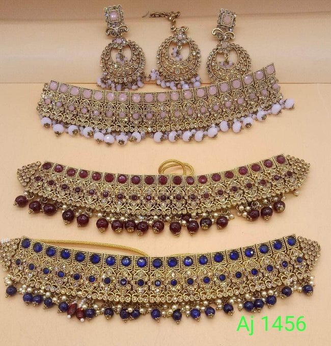 Beautiful Designer Heavy Choker Set in Maroon - Jewelry - FashionVibes