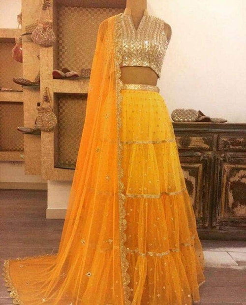 Beautiful Georgette Ruffle Style Lehenga in - Lehenga - FashionVibes