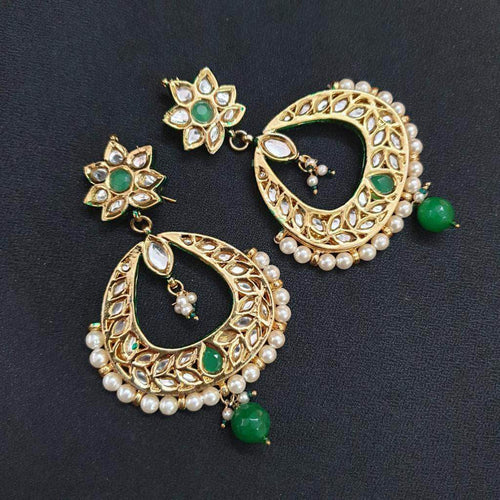 Beautiful Green and White Beads Kundan Earrings in - Jewelry - FashionVibes