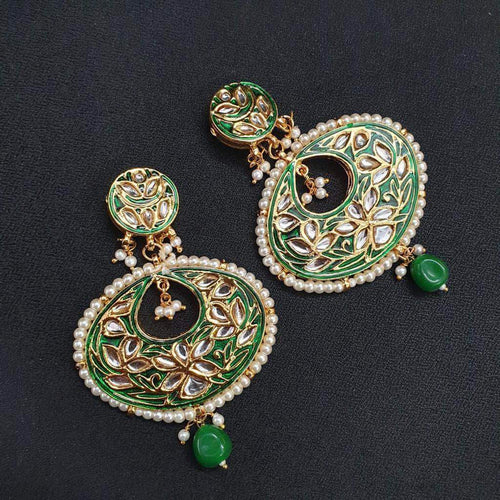 Beautiful Green and White Kundan Earrings in - Jewelry - FashionVibes