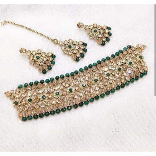 Beautiful Green Kundan Wedding Necklace in - Jewelry - FashionVibes