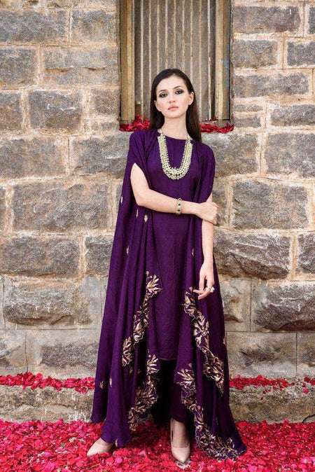 Beautiful Purple Indo-western Georgette Gown