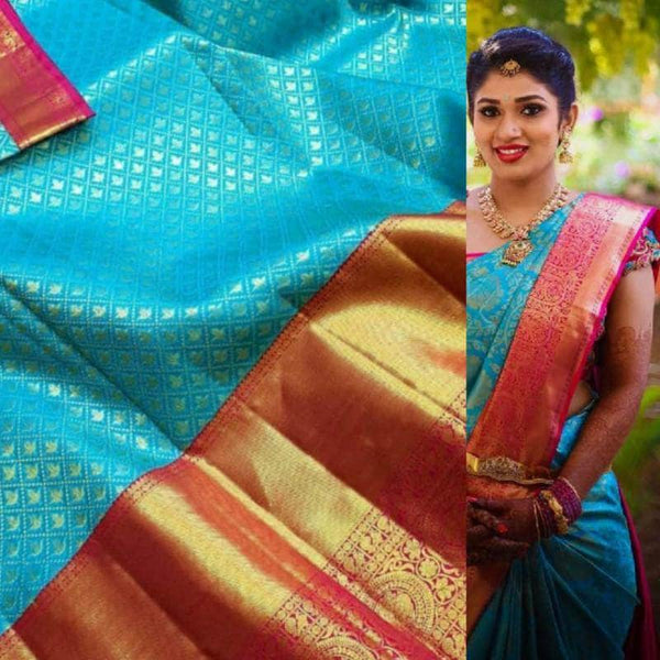 Beautiful Kanjivaram Authentic Silk Saree in Blue and Magenta - Saree - FashionVibes