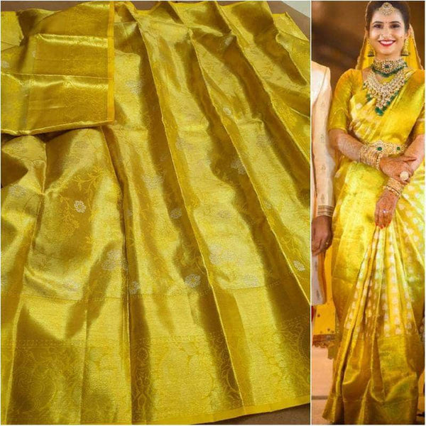 Beautiful Kanjivaram Authentic Silk Saree in Gold - Saree - FashionVibes