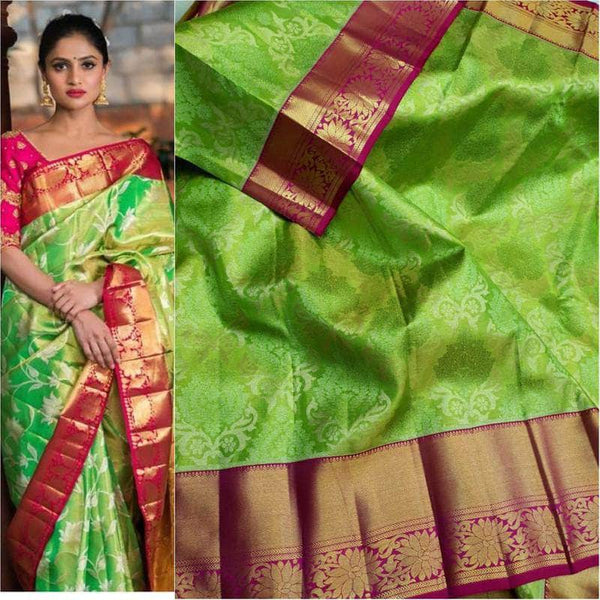 Beautiful Kanjivaram Authentic Silk Saree in Green - Saree - FashionVibes