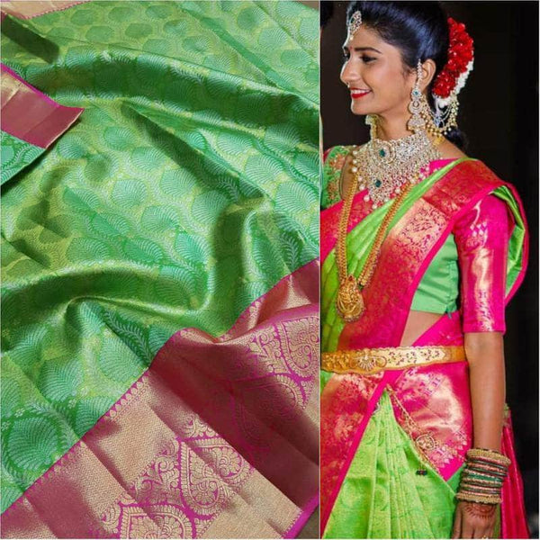 Beautiful Kanjivaram Authentic Silk Saree in LightGreen - Saree - FashionVibes
