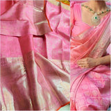 Beautiful Kanjivaram Authentic Silk Saree in Pink - Saree - FashionVibes