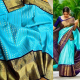 Beautiful Kanjivaram Authentic Silk Saree in SkyBlue - Saree - FashionVibes