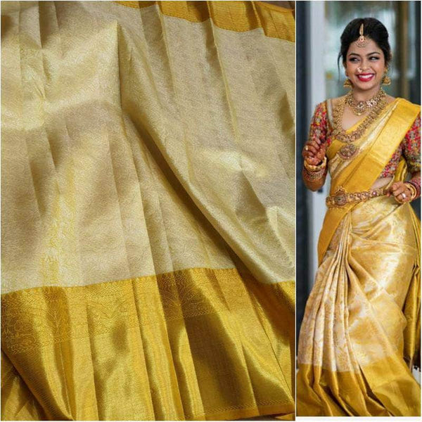 Beautiful Kanjivaram Authentic Silk Saree in Wheat - Saree - FashionVibes
