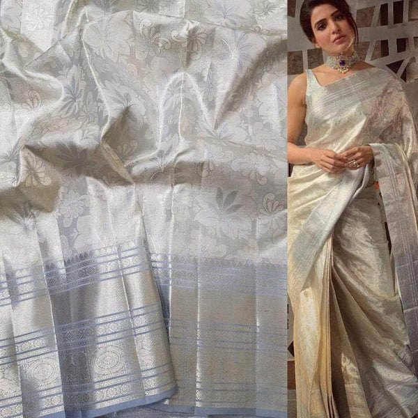 Beautiful Kanjivaram Authentic Silk Saree in White - Saree - FashionVibes