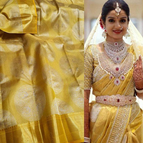 Beautiful Kanjivaram Authentic Silk Saree in Yellow - Saree - FashionVibes