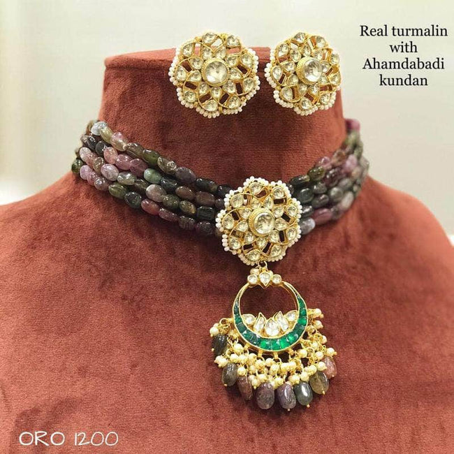 Beautiful Kundan Moti Choker in Gray - Jewelry - FashionVibes