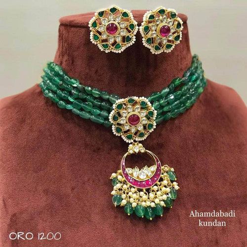 Beautiful Kundan Moti Choker in Green - Jewelry - FashionVibes