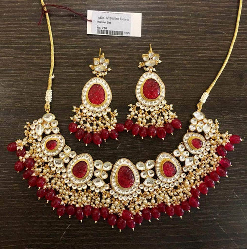 Beautiful Kundan Necklace in Red - Jewelry - FashionVibes