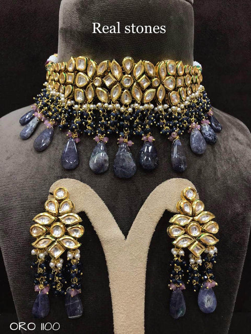 Beautiful Kundan Set in DarkGray - Jewelry - FashionVibes