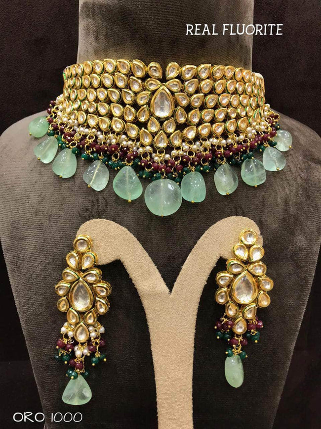 Beautiful Kundan Set in SeaGreen - Jewelry - FashionVibes