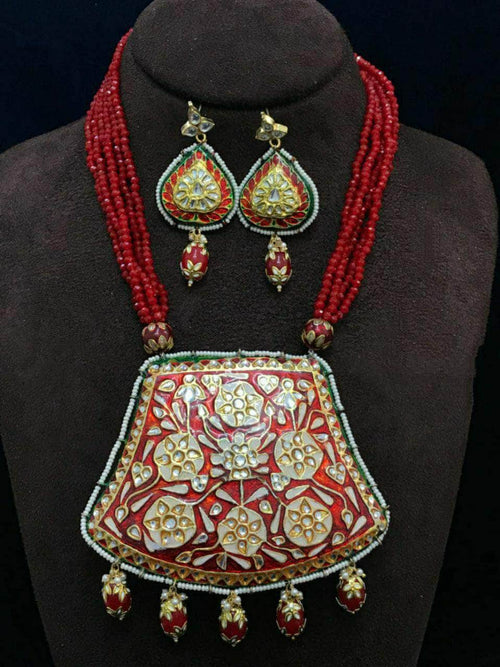 Beautiful Meenakari work Heavy Pendant in - Jewelry - FashionVibes