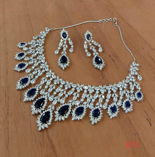 Beautiful Navy and White American Diamond Necklace in - Jewelry - FashionVibes