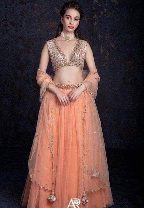 Beautiful Peach Georgette Lehenga in - Lehenga - FashionVibes