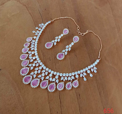 Beautiful Pink American Diamond Set in - Jewelry - FashionVibes