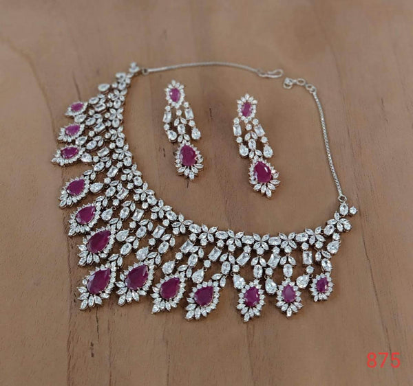 Beautiful Pink and White American Diamond Necklace in - Jewelry - FashionVibes