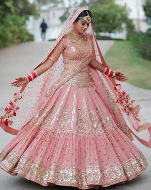 Beautiful Pink Bridal Lehenga in - Lehenga - FashionVibes