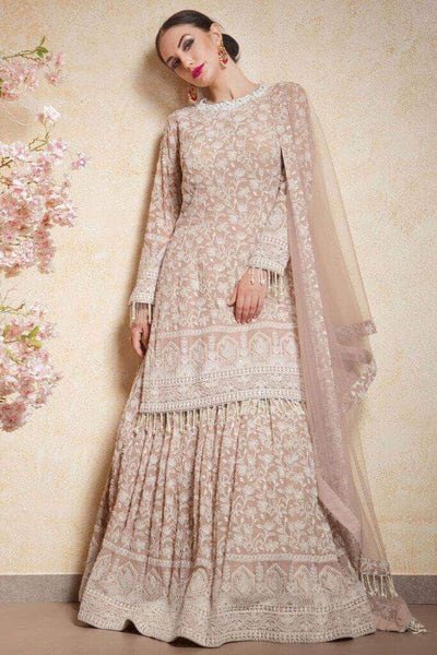 Beautiful Pure Georgette Handwork Chikankari Lehenga in - Lehenga - FashionVibes