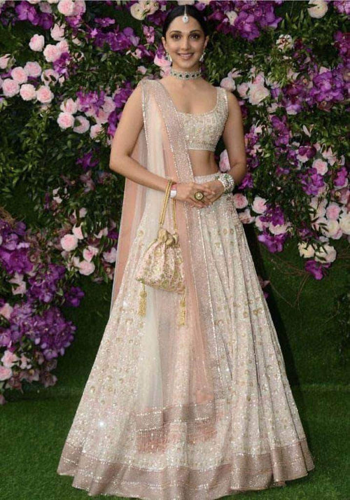Beautiful Pure Georgette Handwork Chikankari Lehenga with Matching Choli in - Lehenga - FashionVibes