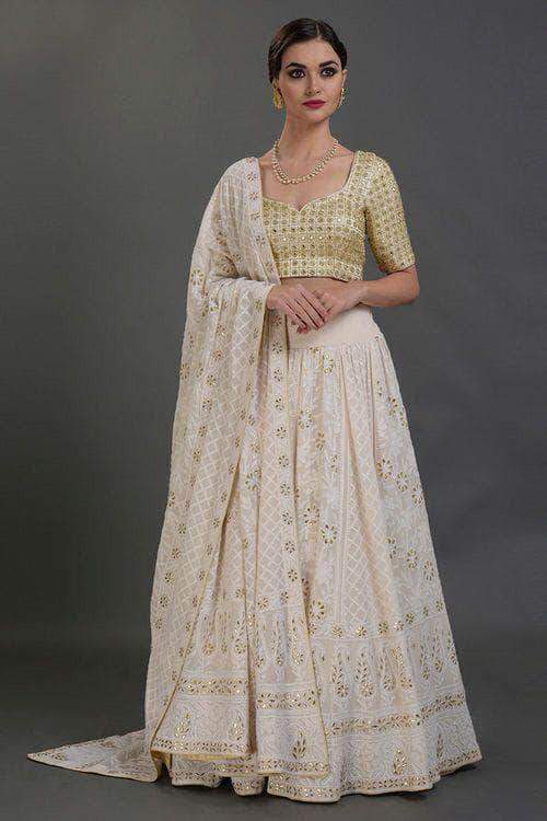 Beautiful Pure Georgette Handwork Chikankari Off-White Lehenga in - Lehenga - FashionVibes