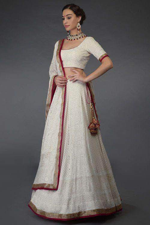 Beautiful Pure Georgette Handwork Chikankari White Lehenga in - Lehenga - FashionVibes