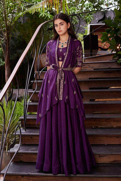 Beautiful Purple Indo-western Georgette Gown in - Gowns - FashionVibes