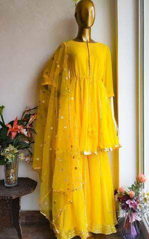Beautiful Yellow Color Peplum style Gotta Patti Sharara Suit in - Salwar Suit - FashionVibes