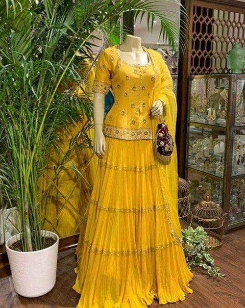 Beautiful Yellow Georgette Ruffle Lehenga in - Lehenga - FashionVibes