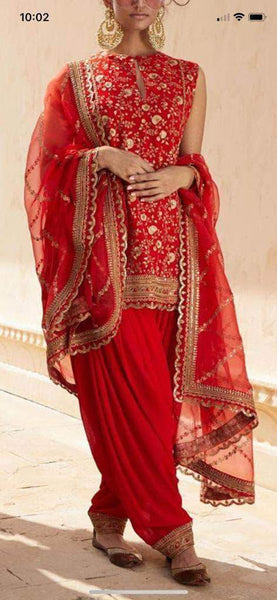 Chinon Chiffon Red Patola Suit in - Salwar Suit - FashionVibes