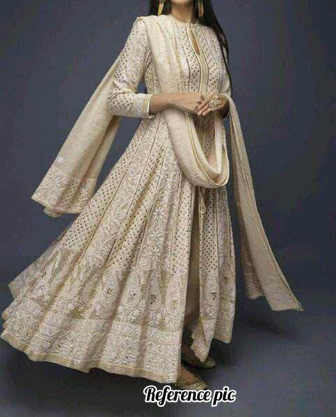 Custom high quality Chikankari Anarkali Wedding Suit in - Salwar Suit - FashionVibes