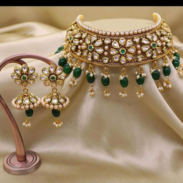 Designer Beautiful Choker Set in Green - Jewelry - FashionVibes
