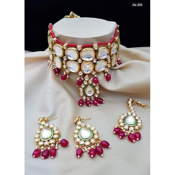 Designer Choker Set with Maang Tikka in Red - Jewelry - FashionVibes