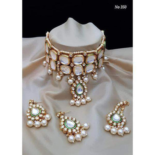 Designer Choker Set with Maang Tikka in White - Jewelry - FashionVibes